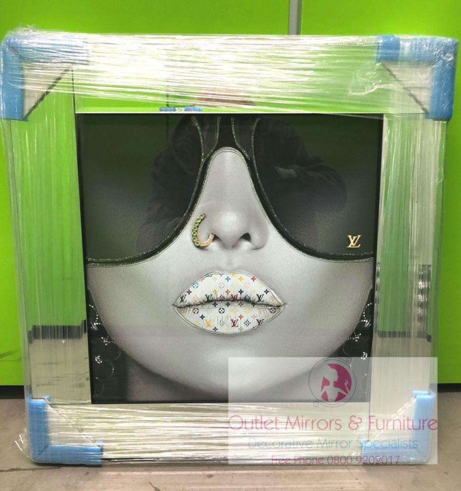 Media Art louis Vuitton multi colour Lips Mirror Framed sparkle Art 57cm x