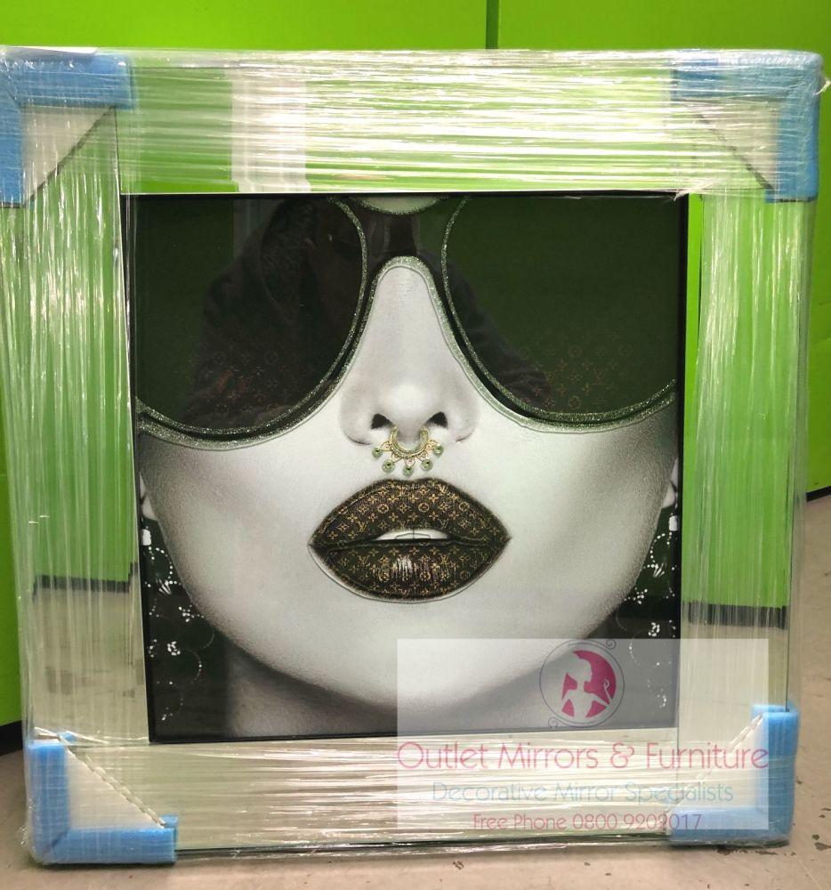 Media Art louis Vuitton Lips Mirror Framed sparkle Art 57cm x 57cm