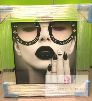 Media Art L'aveugle Par Amour Black Lips Mirror Framed sparkle Art 55cm x 55cm