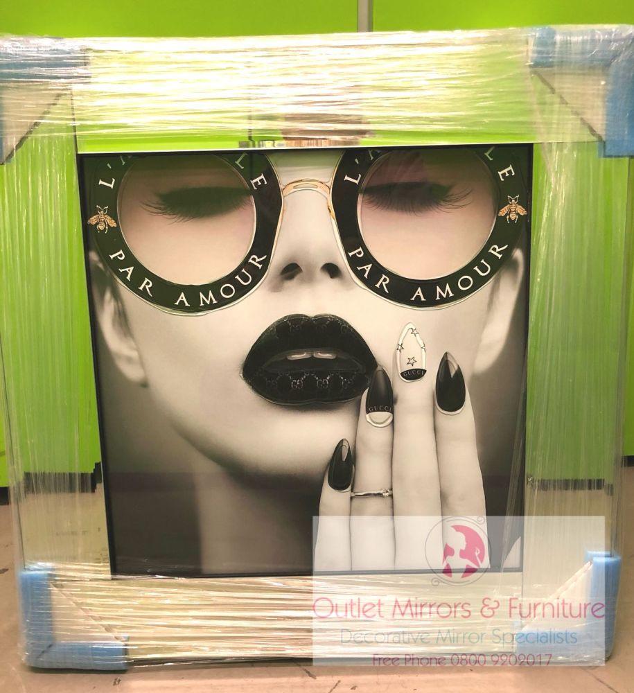 Media Art L'aveugle Par Amour Black Lips Mirror Framed sparkle Art 57cm x 5
