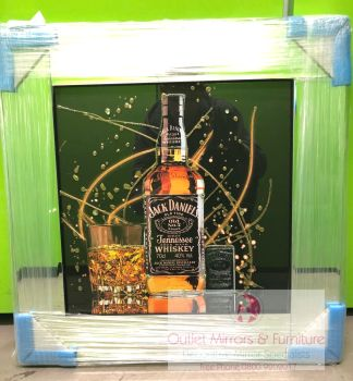 ** Jack Daniels Glitter Art Mirrored Frame ** 57cm x 57cm  in stock for a quick delivery