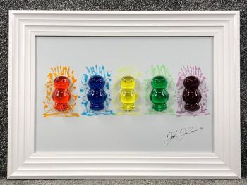 3D colourful Jelly Babies wall art on a white gloss background 55cm x 75cm in stock
