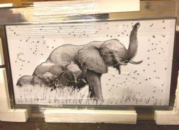 "Mirror framed art print "" Mother Elephant & Calf"" 100cm x 60cm"