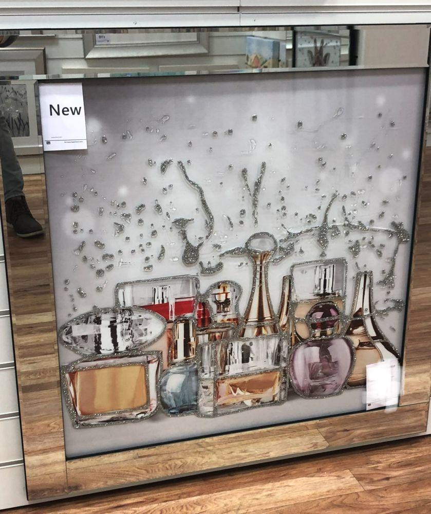 Mirror framed art print Perfume Bottles