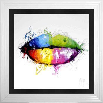 "Patrice Murciano Framed ""Rainbow Lips"" print 90cm x 90cm"