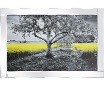 "Mirror framed ""Sparkle Rapseed Tree Field"" Wall Art"