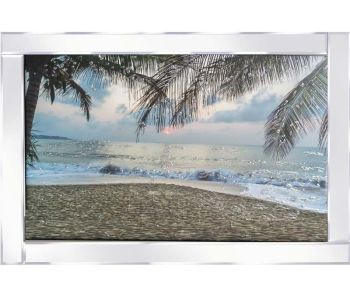 "Mirror framed ""Sparkle Sunset Beach"" Wall Art"