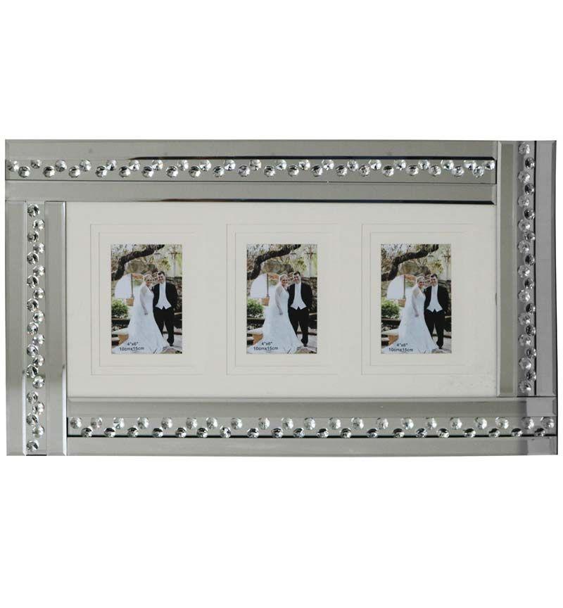 Glitz Crystal collage 3 Mirrored Photo Frame 60cm x 35cm