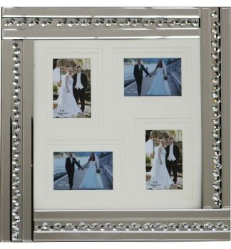 Glitz Crystal Mirrored Collage 4 Photo Frame 59cm x 60cm
