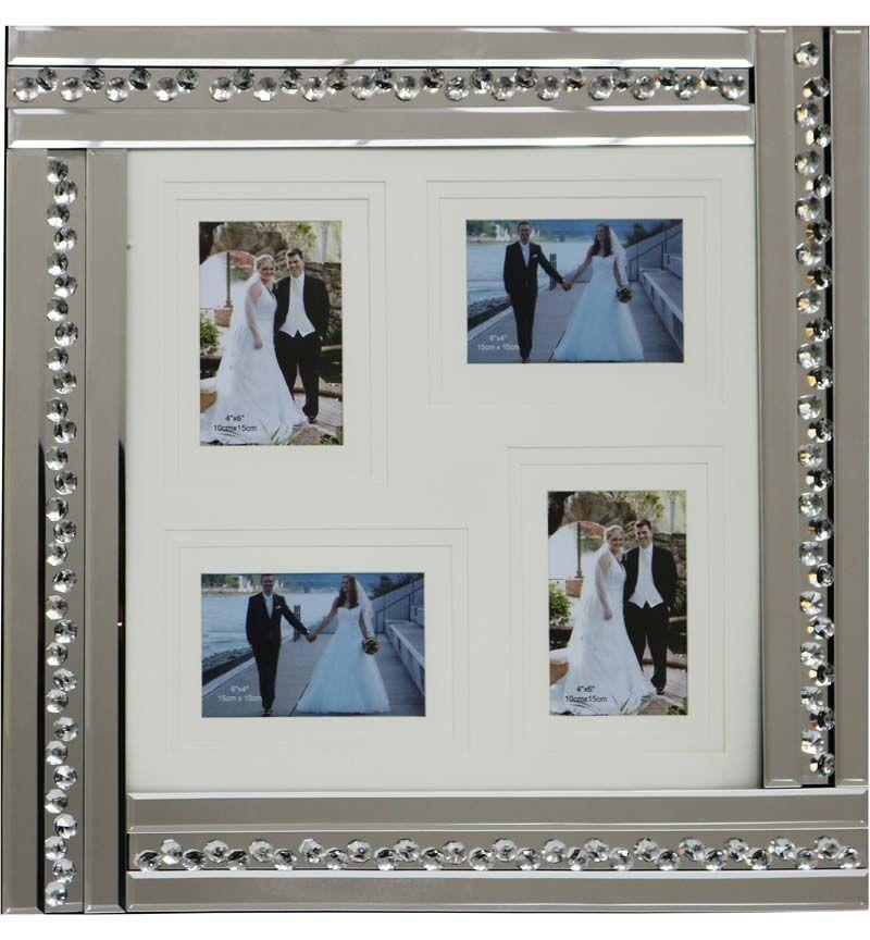 Glitz Crystal Mirrored Collage 4 Photo Frame 59cm x 60cm