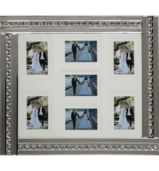 Glitz Crystal Mirrored collage 7 Photo Frame 70cm x 60cm Item in stock for a fast delivery
