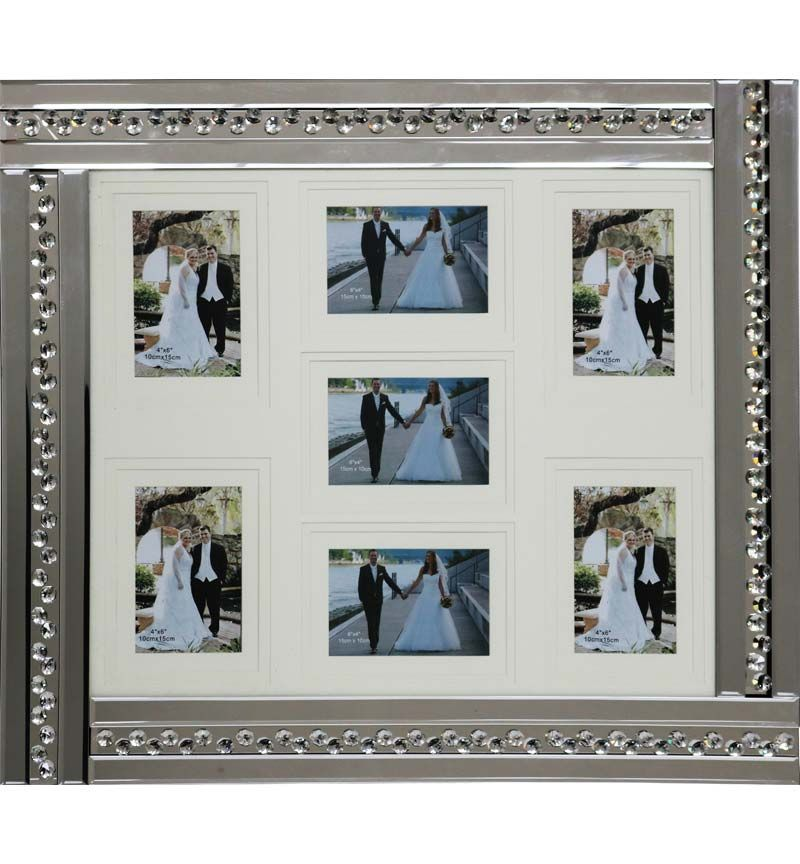 Glitz Crystal Mirrored collage 7 Photo Frame 70cm x 60cm Item in stock for