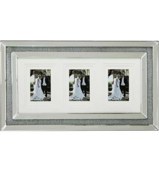 Glamour Sparkle collage 3 Mirrored Photo Frame 60cm x 35cm