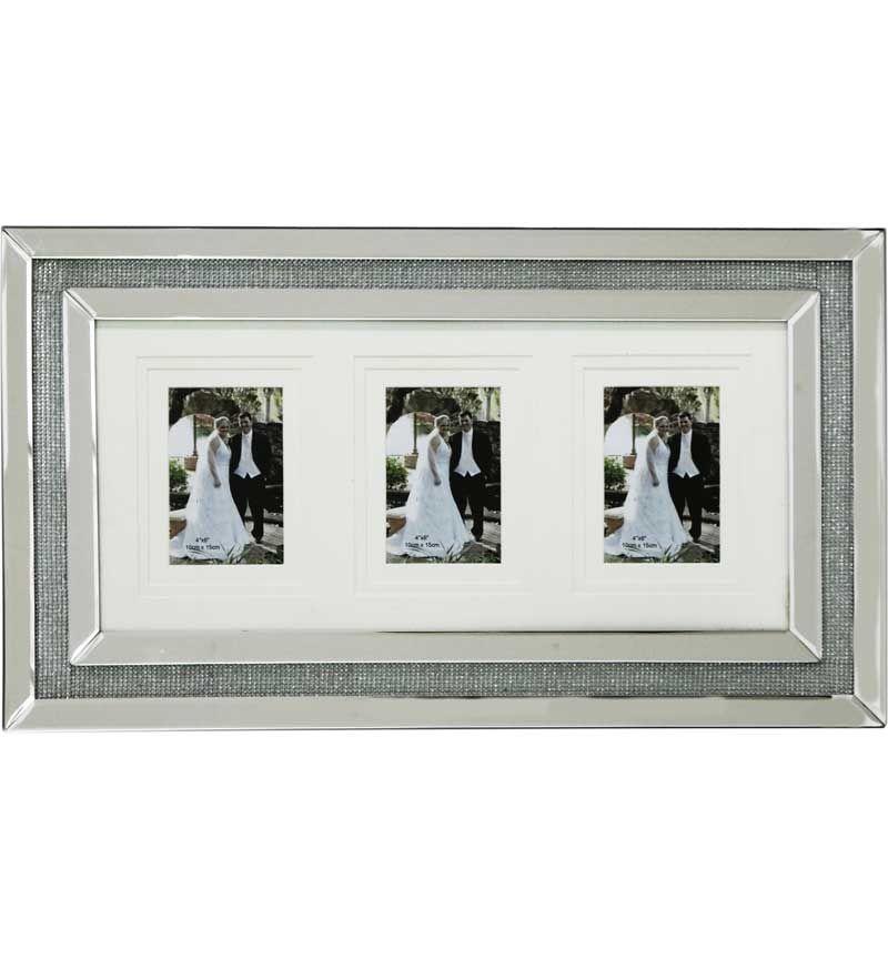 Glamour Sparkle collage 3 Mirrored Photo Frame 60cm x 35cm
