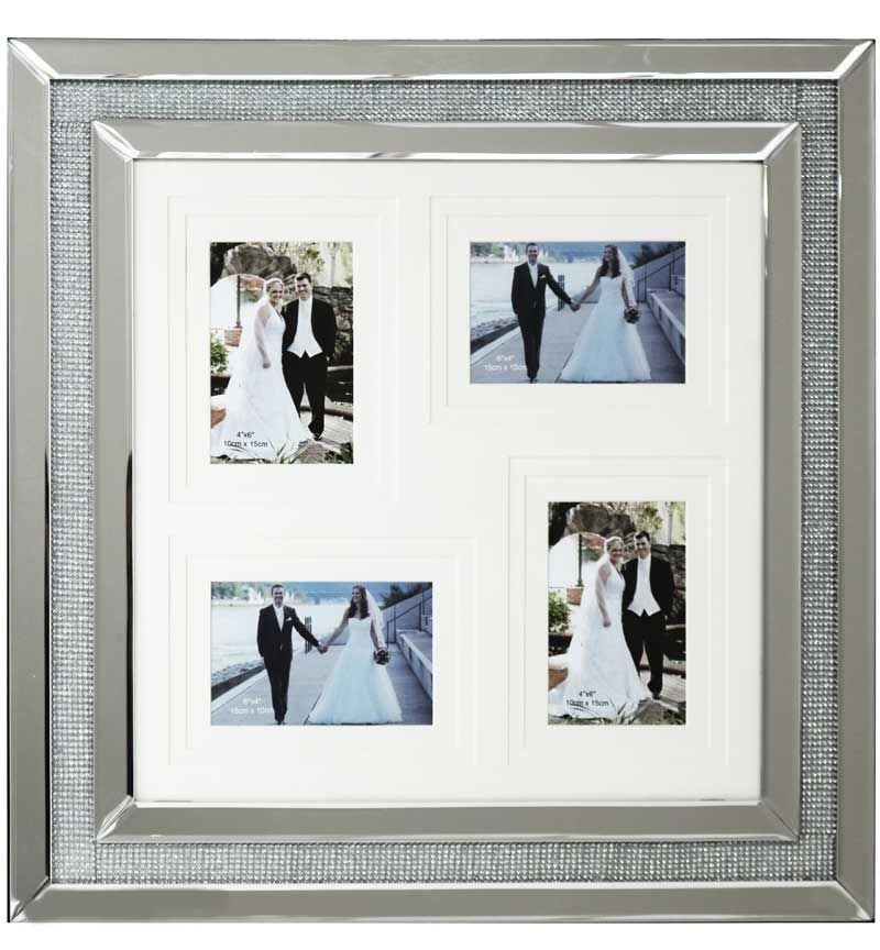 glamour Sparkle Mirrored Collage 4 Photo Frame 59cm x 60cm