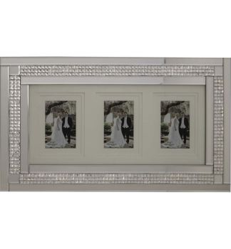 Chic Mosaic Sparkle Mirrored collage 3 Photo Frame  70cm x 40cm