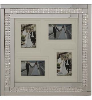 Chic Mosaic Sparkle Mirrored collage 4 Photo Frame  50cm x 55cm
