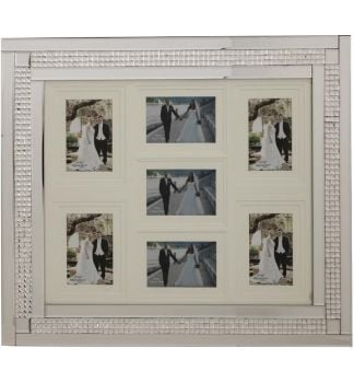 Chic Mosaic Sparkle Mirrored collage 7 Photo Frame  70cm x 60cm
