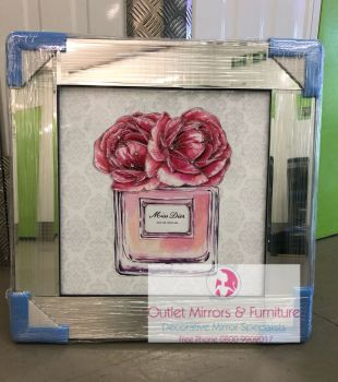 "Mirror framed Sparkle Glitter Art ""Miss Dior Red Roses"" In stock for a fast delivery"