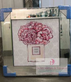 "Mirror framed Sparkle Glitter Art ""Coco Chanel Pink Roses"" In stock for a fast delivery"
