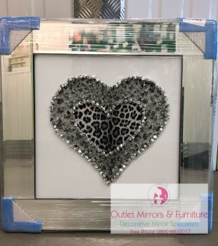 Mirror Framed Leopard Skin Cluster Heart Mirror Framed sparkle Art Black & Silver 57cm x 57cm