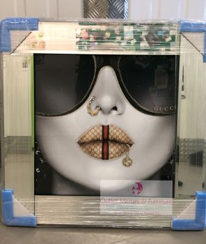 Media Art Gucci Mirror Framed sparkle Art  57cm x 57cm