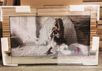 "Mirror framed art print "" Sitting Angel "" 100cm x 60cm"