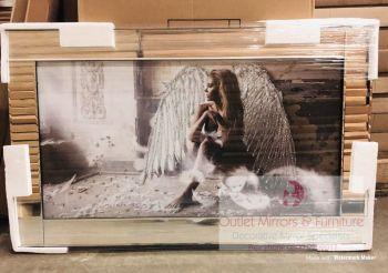 """Mirror framed art print """" Sitting Angel """" 100cm x 60cm"""