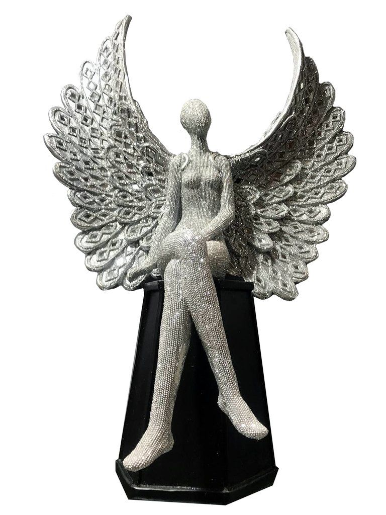 *Angel Wings Sitting Lady Cross leg in Sparkle Silver