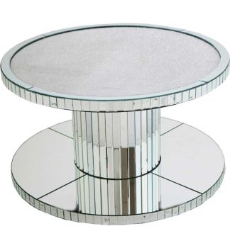 Glamour Sparkle Round Mirrored Coffee Table 90cm Dia
