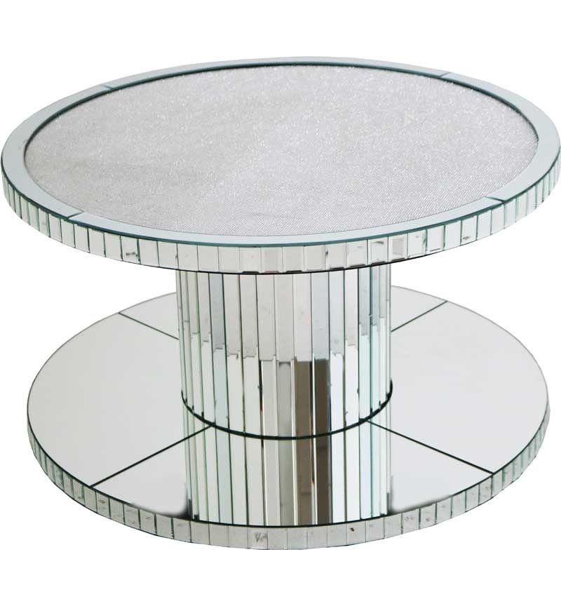 Glamour Sparkle Round Mirrored Coffee Table 90cm Dia