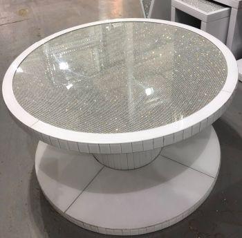 Glamour Sparkle White Round Mirrored Coffee Table 90cm Dia