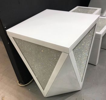 Glamour Sparkle White Mirrored Lamp Table