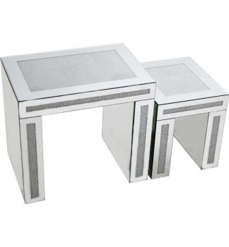 Glamour Sparkle Mirrored Nest of 2 Tables with Border trim