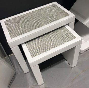 Glamour Sparkle White Mirrored Nest of 2 Tables