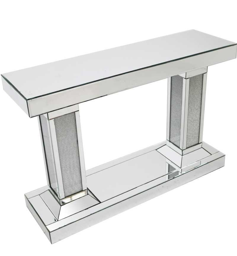 Glamour Sparkle Mirrored Double Column Console Table