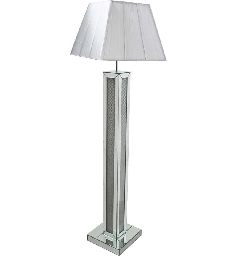 Glamour Sparkle Floor Lamp with Silver Grey shade
