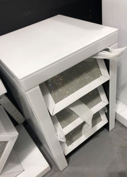 Glamour Sparkle White 3 Draw Slanted Mirrored Chest