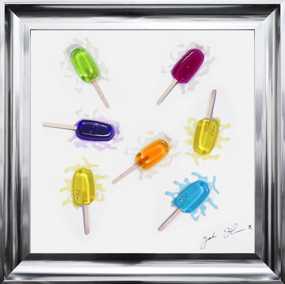 Jake Johnson 3D colourful Lollipops wall art on a white gloss background wi