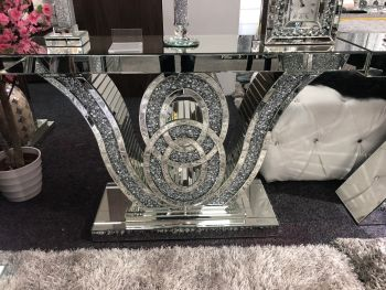 "*Diamond Crush crystal Sparkle ""Maltese"" Console Table  item in stock"