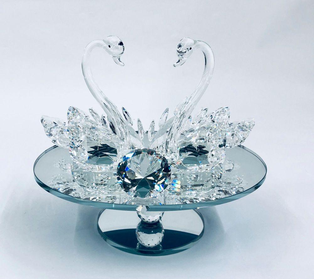 Crystal Swans on a mirrored Swivel Plate medium
