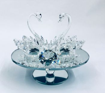 * Crystal Swans on a mirrored Swivel Plate medium
