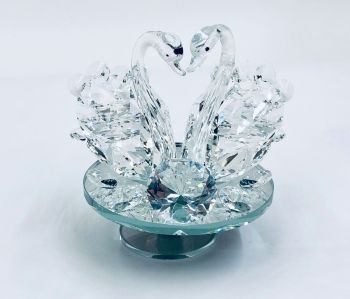 * Crystal Swans on a mirrored Swivel Plate small