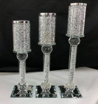 *Diamond Crush Sparkle Candle Holder Large