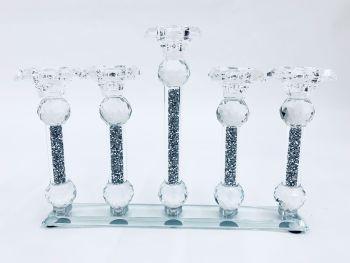 * Diamond Crush Sparkle Tea Light  Holder 5 stem