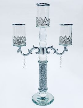 * Diamond Crush Sparkle Candelabra 3 Clear item in stock