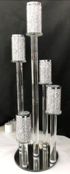 * Diamond Crush Sparkle Tier Tea Light Holder 5 stem