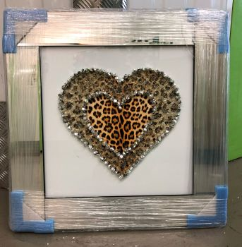 Mirror Framed Leopard Skin Cluster Heart Mirror Framed sparkle Art Gold 57cm x 57cm