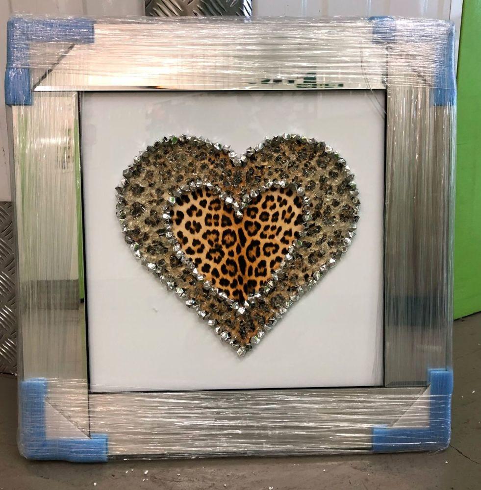 Leopard Skin Cluster Heart Mirror Framed sparkle Art Gold 57cm x 57cm