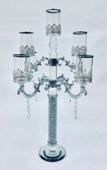 * Diamond Crush Sparkle Candelabra 5 Clear large
